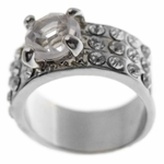 Silver Tone Round Cut Ring