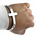 Sideways Cross S. Steel Bracelet