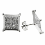 Square Silver Tone Earrings 13MM