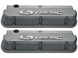 Ford Racing Gray Slant-Edge Valve Covers for 289/302/351w Small Block Ford