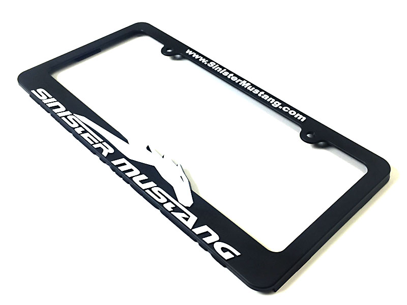 Sinister Mustang Black License Plate Frame