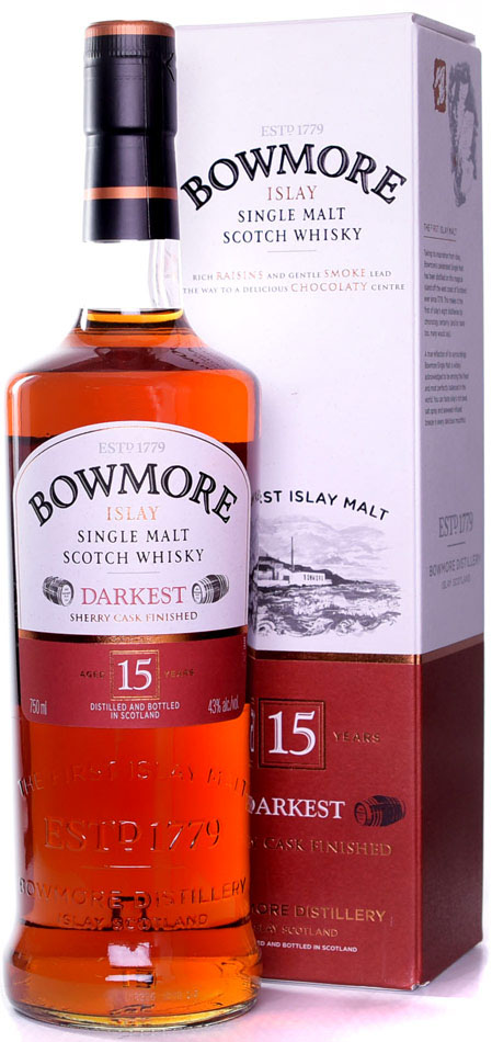 bowmore 15 year darkest single malt scotch
