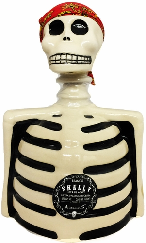 Los Azulejos Skelly Blanco Tequila (bottle designs vary) 750ML