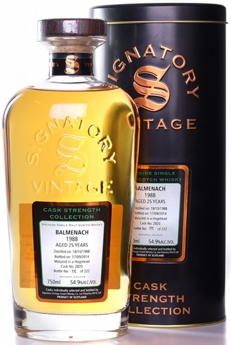 Signatory Balmenach 25 Year Old Cask Strength Single Malt Whisky 1988