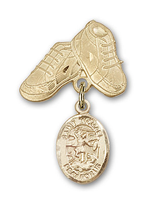 14kt Gold Baby Badge With St Michael The Archangel Charm And Baby