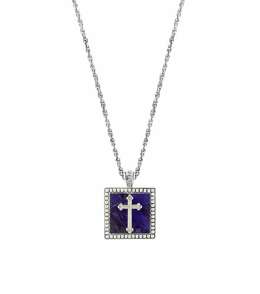 fleur studded blade with square badf necklace twisted silver lis de cross link pendant