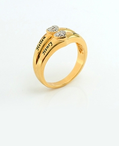 24K Gold Over Sterling Silver 2 Diamond Accents Ring
