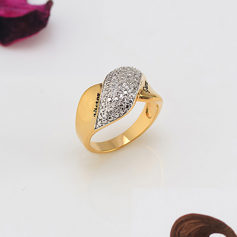 24k Gold Over Silver Couple S Diamond Accent Ring