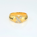 24K Gold Over Silver Couples Diamond Accent Ring