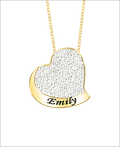 Name necklaces 3 diamond accent heart pendant with 18 link chain aloadofball Image collections