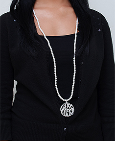 "40"" Pearl Monogram Necklace"