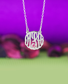 "5/8"" Script Monogram Necklace"