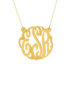 Short Script Monogram Necklace w/ Split Chain