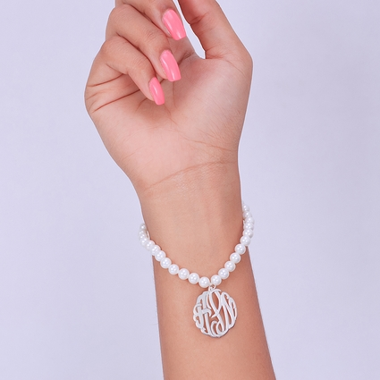 Fresh Water Pearl Bracelet With Sterling Silver Monogram