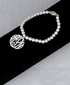 7?  5mm Fresh Water Pearl Bracelet With 7/8 Monogram