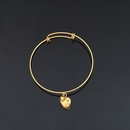 Adjustable Bangle Bracelet with Puff Heart Charm