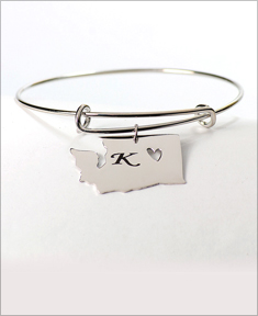 Adjustable Personalize State Bangle