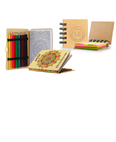 Adult Coloring Book and Spiral Flags & Sticky Notes Book