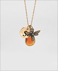 Bee Necklace with Optional Initial Disc