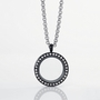 Black Circle Locket with Zirconia Crystals and 4 Floating Motifs of your choice