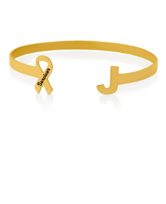 Breast Cancer Awareness Ribbon and Initial Bangle