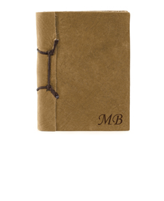 Brown Antique Leather Notebook with Initials