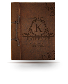 Brown Antiqued Leather Personalize Message Note Book