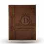 Brown Antiqued Leather Note Book with Initials