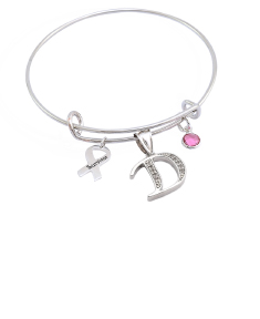 Breast Cancer Awareness Initial Bangle