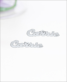 Silver Plated Carrie Stud Name Earrings