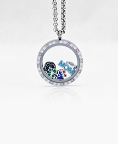 Circle Locket 3cm with 12 Crystals and 3 Floating Motifs of your choice