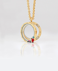 Circle Locket Small with 12 Crystals and 4 Floating Motifs of your choice