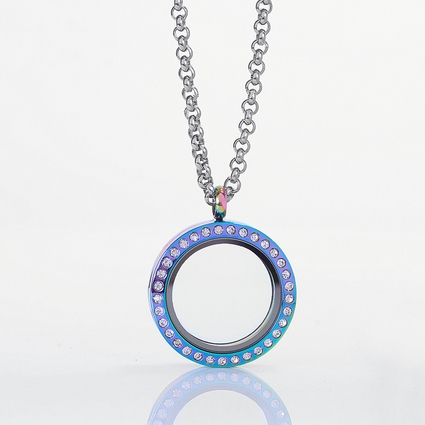 Circle Rainbow Locket with Zirconia Crystals and 4 Floating Motifs of your choice