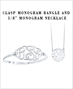 "Clasp Monogram Bangle and 5/8"" Monogram Necklace"