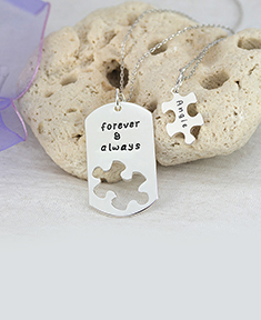 "Couple ""Forever & Always"" Puzzle Pendants"