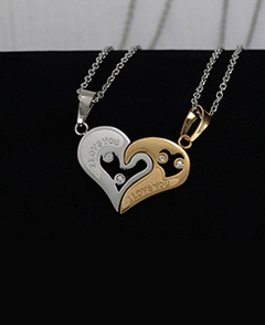 Couple Heart Shape I Love You Pendants With Stones