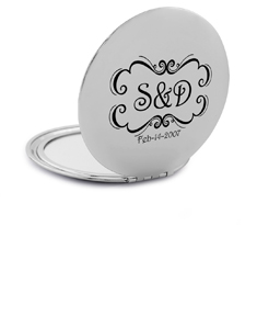 Compact Mirror with Couple's Initials & Date