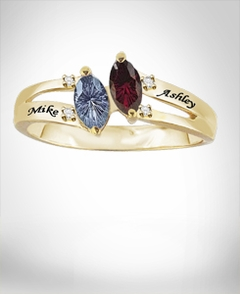 Couple's Ring with Stones & Engraving