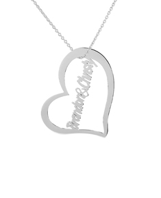 Couples Heart Name Necklace