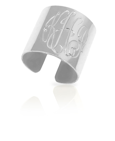 Monogram Engraved Cuff Ring