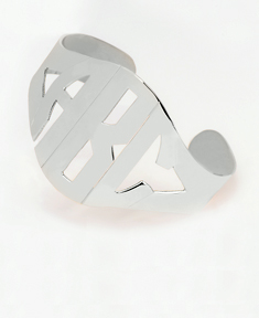 Cut Out Block Monogram Bangle