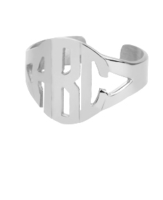 Cut Out Block Monogram Ring