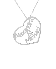 Cut out Couples Heart Names Necklace