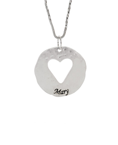 Cut Out Heart On Hammered Disc Pendant