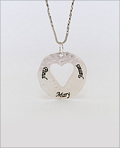 Cut Out Engraved  Heart On Hammered Disc Pendant