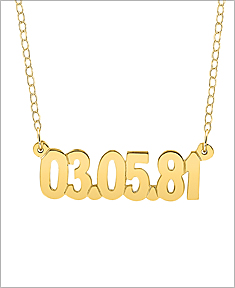 Gold Date of Birth Necklace