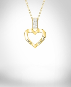 "Diamond Accent Heart Pendant with 18"" Link Chain"