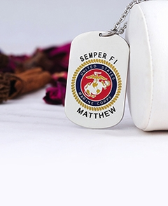 Marine Corps Tag Pendant with Engraving