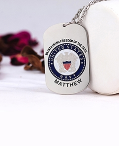 Navy Tag Pendant with Engraving