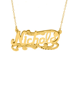 "Double-Plate Diamond-cut Name Necklace ""Nichole"""